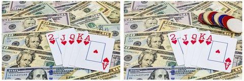Cash poker cards gambler chips collage Royalty Free Stock Image