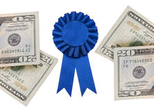 Cash Prize. Money and Blue First Prize Ribbon Isolated on White with a Clipping Path stock photos