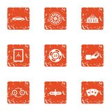 Cash protect icons set, grunge style. Cash protect icons set. Grunge set of 9 cash protect vector icons for web isolated on white background Stock Photos