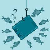 Cash purse on a fishing hook underwater with the fishes. The lure of money, a waste of money, a loss stock illustration