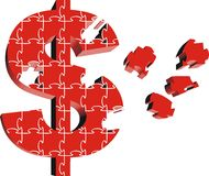 Cash puzzle. 3d puzzle of money symbol in red color royalty free illustration