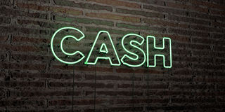 CASH -Realistic Neon Sign on Brick Wall background - 3D rendered royalty free stock image. Can be used for online banner ads and direct mailers Royalty Free Stock Photo