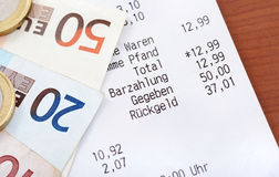 Cash receipt Stock Photos
