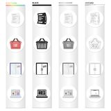 Cash receipt for purchase, shopping basket, the door is open, sale on the Internet. Sale and purchase,e-commerce set. Collection icons in cartoon black Stock Images