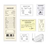 Cash receipts vector colorful poster  on white. Cash receipt vector colorful poster  on white. Collection of printed financial checks showing action of Royalty Free Stock Images