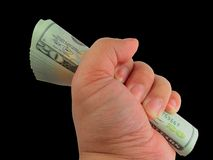 Cash Refund. A hand holding a bunch of new 20 dollars United States currency stock photography