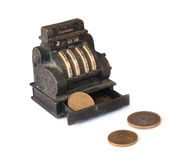 Cash register. Miniature cash register with euro coins Stock Images