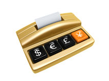 Cash register. Golden cash register isolated on white background Royalty Free Stock Photo