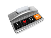 Cash register. Silver cash register with love keypad isolated on white background Stock Photos