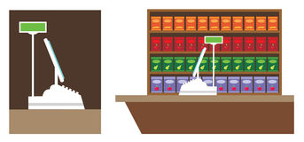 Cash register. Image counter in the store with the cash register vector illustration