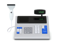 Cash register and barcode reader. One cash register with a barcode reader (3d render Royalty Free Stock Images