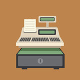 Cash Register. And bill cartoon concept Stock Images
