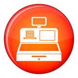 Cash register with cash drawer icon, flat style Stock Photography