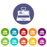 Cash register with cash drawer set icons Royalty Free Stock Images