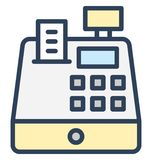 Cash register, cash till Isolated Vector Icon That can be easily edited in any size or modified. royalty free illustration