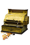 Cash register with coins. Antique ornate cash register isolated on white Stock Photo