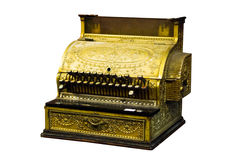 Cash register with coins. Antique ornate cash register isolated on white royalty free stock photography