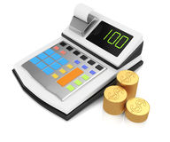 Cash register and coins Royalty Free Stock Image