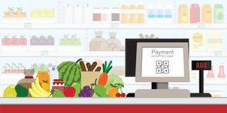Free Cash Register Electronic QR Code Payment In Supermarket, Retail Shop Accepted Digital Pay Without Money, Vector Illustration Stock Photography - 131722022