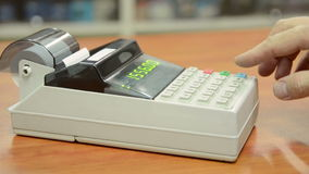 Cash register. Fixation of the check on the cash register stock video