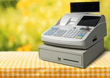 Cash register with LCD display on  background. Display cash lcd register background money object Stock Images