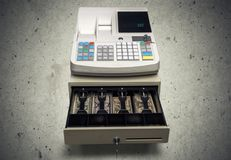 Cash register with LCD display on concrete. Display cash lcd register background money object Royalty Free Stock Photography