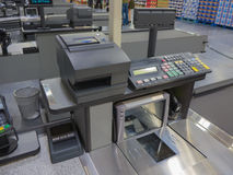Cash register. A cash register line in the supermarket Royalty Free Stock Photo