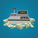 Cash register. A lot of money. Vector flat illustration. Stock Photography