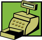 Cash register machine vector illustration. Vector illustration of a cash register machine Royalty Free Stock Photo