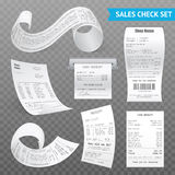 Cash Register Receipts Realistic Transparent Set. Cash register sales receipts printed on thermal rolled paper realistic images collection on transparent Stock Photos