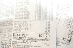 Cash register receipts Royalty Free Stock Photography