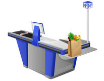 Cash register terminal and shopping bag with foods Stock Photos