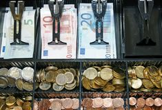 Cash register-Till- with Euro money. Open cash register with euro money in bills and coins Royalty Free Stock Images