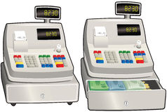 Cash register till. Two different cash register drawings, one with cash drawer open, one closed. E.P.S. 10 vector file included with image,  on white Stock Photography
