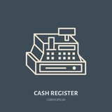 Cash register vector flat line icons. Retail store supplies, trade shop equipment sign. Commercial object thin linear Stock Photography