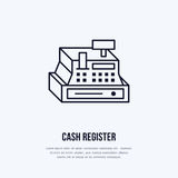 Cash register vector flat line icons. Retail store supplies, trade shop equipment sign. Commercial object thin linear Stock Images