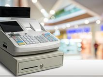 Cash Register. Register Wealth Checkout Counter White Sale Store Stock Images