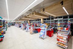 Cash registers, cash desk, in a large supermarket. Rome, Italy. December 05, 2018: A series of cash registers, cash desk, in a large supermarket M.A stock photo