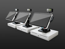 Cash registers in a row, isolated on black background, 3d illustration Stock Photos