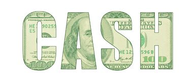 CASH represented in letters with pattern from a bill. Word art representing money, cash, greenback, hundred dollar bill with Ben Franklin etching vector illustration