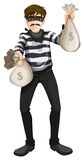 A cash robbery. Illustration of a cash robbery on a white background Stock Images