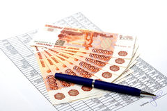 Cash Russian money for the signed document. Stock Images