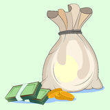 Cash savings in a bag Stock Photos