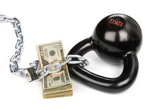 Cash secured by ball and chain Royalty Free Stock Photo