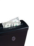 Cash in Shredder. US Dollars, Cash in Shredder Royalty Free Stock Photo