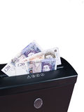 Cash in Shredder. UK Pounds Sterling, Cash in Shredder Royalty Free Stock Photography