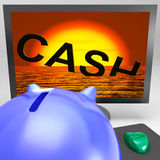Cash Sinking On Monitor Showing Monetary Crisis Royalty Free Stock Image