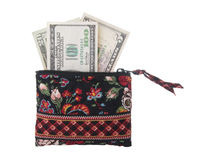 Cash Spending Money In Small Purse Stock Image