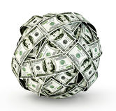 Cash. Sphere of money on a white background royalty free illustration