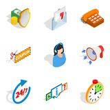 Cash stock icons set, isometric style. Cash stock icons set. Isometric set of 9 cash stock vector icons for web isolated on white background Stock Images
